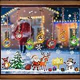 GOLRISEN Pegatinas Navidad Ventanas Papá Noel Muñeco de Nieve Reno Árbol de Navidad Bolas Adornos Navideños para Casa Pegatinas de Navidad para Cristales Decoración de Ventanas para Tienda o Casa