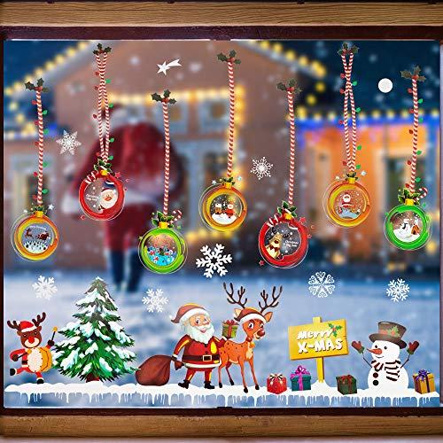 GOLRISEN Fensterbilder Weihnachten Selbstklebend Fensteraufkleber PVC fensterdeko Winter Fenstersticker Süße Elche Weihnachtsmann Schneeflocken Fenster Aufkleber für Schaufenster Vitrinen Glasfronten