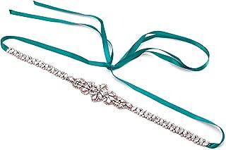 Brishow Wedding Belt Rhinestone Crystal Bridal Sash Pearl Thin Appliques Bride Dress Belts Accessories for Women and Girls