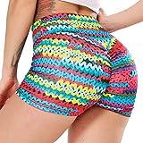 STARBILD Shorts Pantalones Deportes Cortos de Fitness Mallas para Mujer Elástico de Alta Cintura para Correr Gimnasio Gym #4 Pattern Classic-Trenza Color S