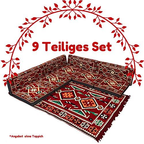 Nesbelle 9 Teilige Set Sark Kösesi Orientalische Sitzecke, Sitzkissen Set Rot (9-TLG Set)