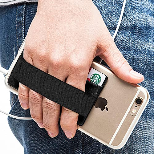 Sinjimoru Cell Phone Grip with Card Wallet, Phone Wallet Stick on Card Holder for Back of Phone, Slim Wallet with Elastic Phone Strap. Sinji Pouch Band Black