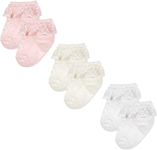 Wrapables Precious Lace Cuff Socks for Baby (Set of 3), Medium
