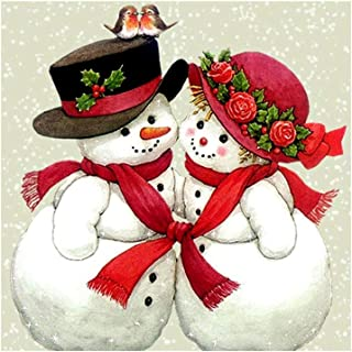 Loneflash DIY 5D Diamond Painting 30x30cm Christmas Couple Snowman Crystal Rhinestone Diamond Embroidery Paintings Pictures Arts Craft for Home Wall Decor