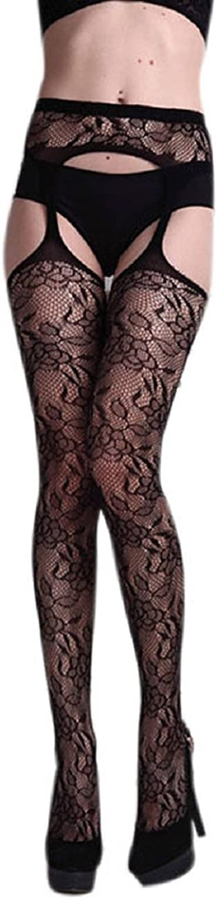 Tonsee Lingerie Net Lace Top Garter Belt Thigh Stocking Pantyhose