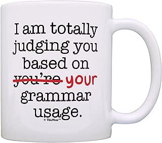 Funny Grammar Mugs I'm Judging You Based On Your Grammar Usage Gift Coffee Mug Tea Cup White