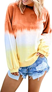 Women's Casual Sweatshirt O-Neck Gradient Contrast Color Long Sleeve Hoodie Pullover Top