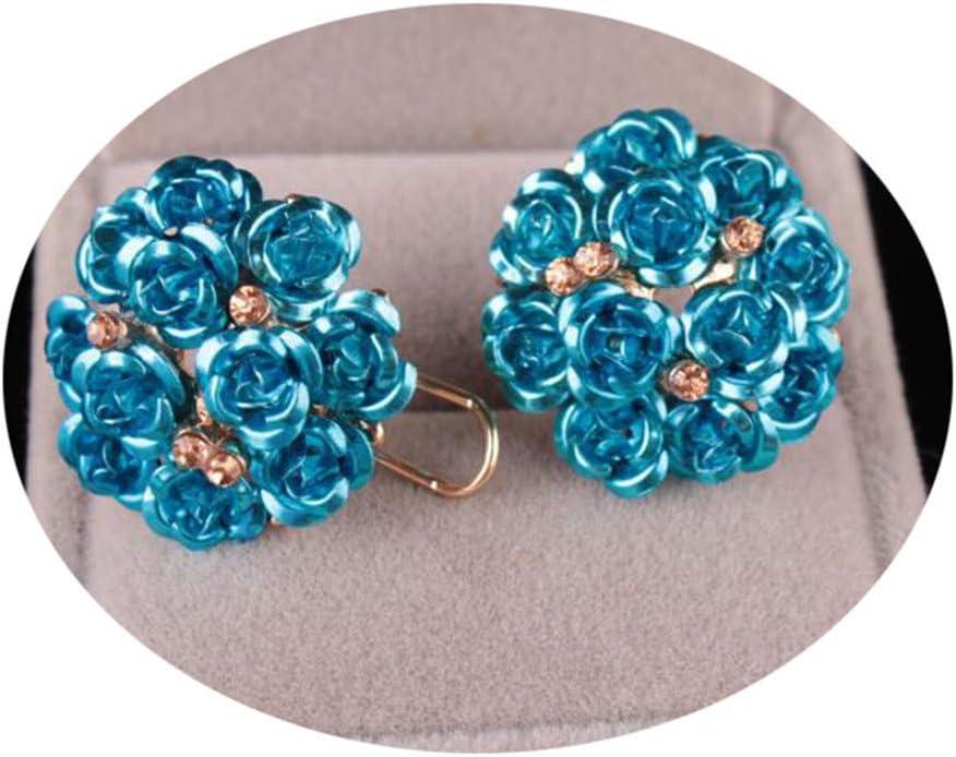 Eleusine Rose Flower Clip Earrings Rose Gold Plated Clip-on Earrings for Women Jewelry Gifts,Sky Blue