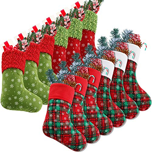 Syhood 9 Inch Christmas Mini Stockings Plaid Snowflake Christmas Stockings Christmas Tree Hanging Stocking for Xmas New Year Party Decorations (12)