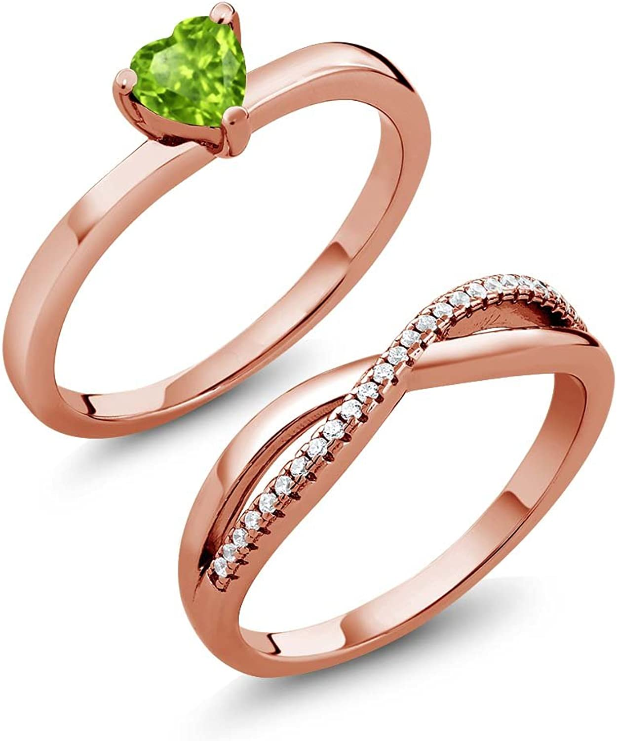 0.80 Ct Green Peridot 18K pink gold Plated Silver Engagement Wedding Ring Set