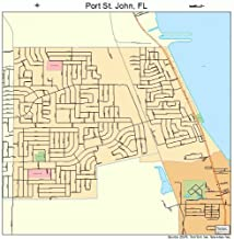 Large Street & Road Map of Port St. John, Florida FL - Printed poster size wall atlas of your home town