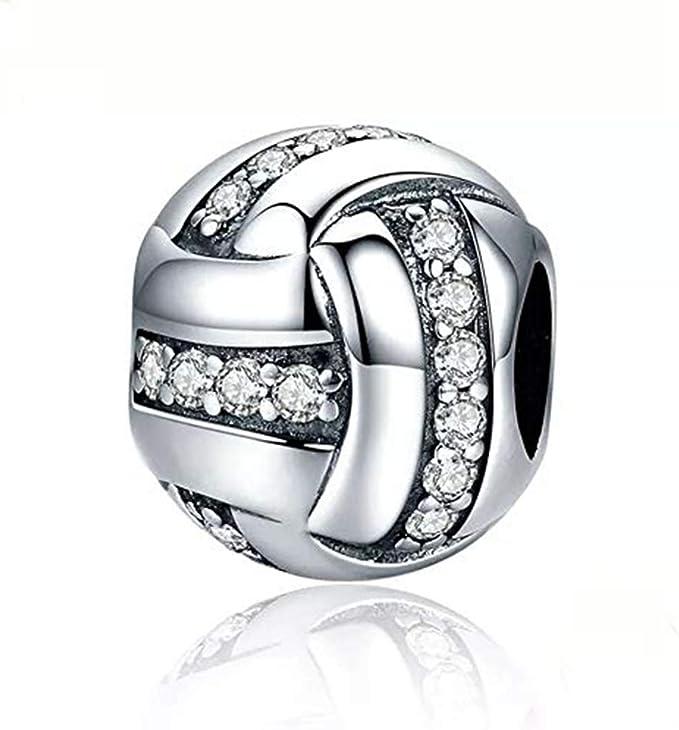 C092 Volleyball Vacation .925 Silver Sterling Silver Beach Ball Bracelet Charm Jewelry DIY Bracelet, Sports