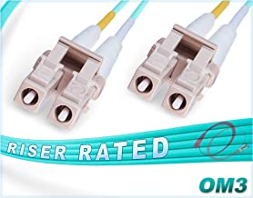 FiberCablesDirect - 1M OM3 LC LC Fiber Patch Cable | 10Gb Duplex 50/125 LC to LC Multimode Jumper 1 Meter (3.28ft) | Length Options: 0.5M-300M | 10gbps lc-lc dplx mmf 10gbase dx sfp+ aqua ofnr lommf