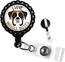 I Love Wiggle Butts Boxer Dog Black Retractable ID Tag Badge Reel by Geek Badges