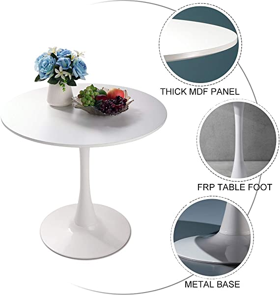 JAXPETY 32 Round Pedestal Table In White Tulip Design Coffee Table Dining Table In White