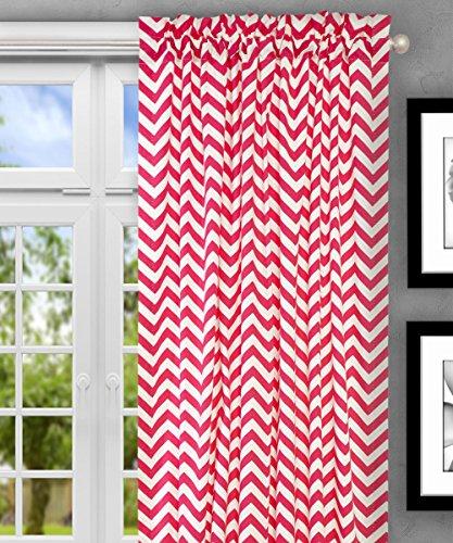 "Ellis Curtain Reston Chevron Stripe Tailored Panel Curtain, 50"" x 63"", Pink"