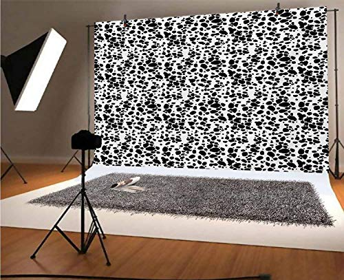 Dalmatian Dog Print 10x8 FT Vinyl Backdrop PhotographersBlack and White Puppy Spots Fur Pattern Fun Spotted Pets Animal Desing Background for Party Home Decor Outdoorsy Theme Shoot Props