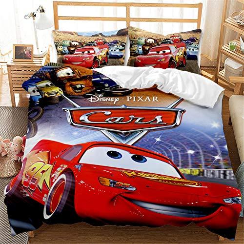 Itscominghome Disney Cars - Juego de ropa de cama (100% microfibra, 1 funda nórdica y 2 fundas de...
