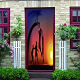 baiyinlongshop Creative Door Stickers DIY 3D Wall Stickers Murals Home Decoration Sunset Basketball Western Removable Door Stickers 90 * 200Cm