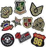 Parches para planchar con bandera militar, insignias del ejército, corona...