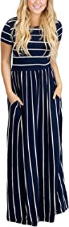 Women's Summer Casual Loose Striped Long Dress Short Sleeve Pocket Maxi Dress