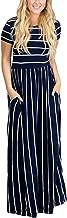 HOTAPEI Women's Summer Casual Loose Striped Long Dress Short Sleeve Pocket Maxi Dress