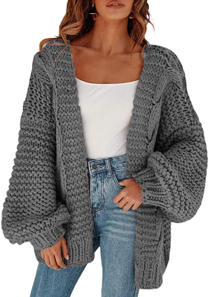 Cicy Bell Women's Open Front Chunky Knit Cardigan Loose Lantern Sleeve Oversized Sweater Coats