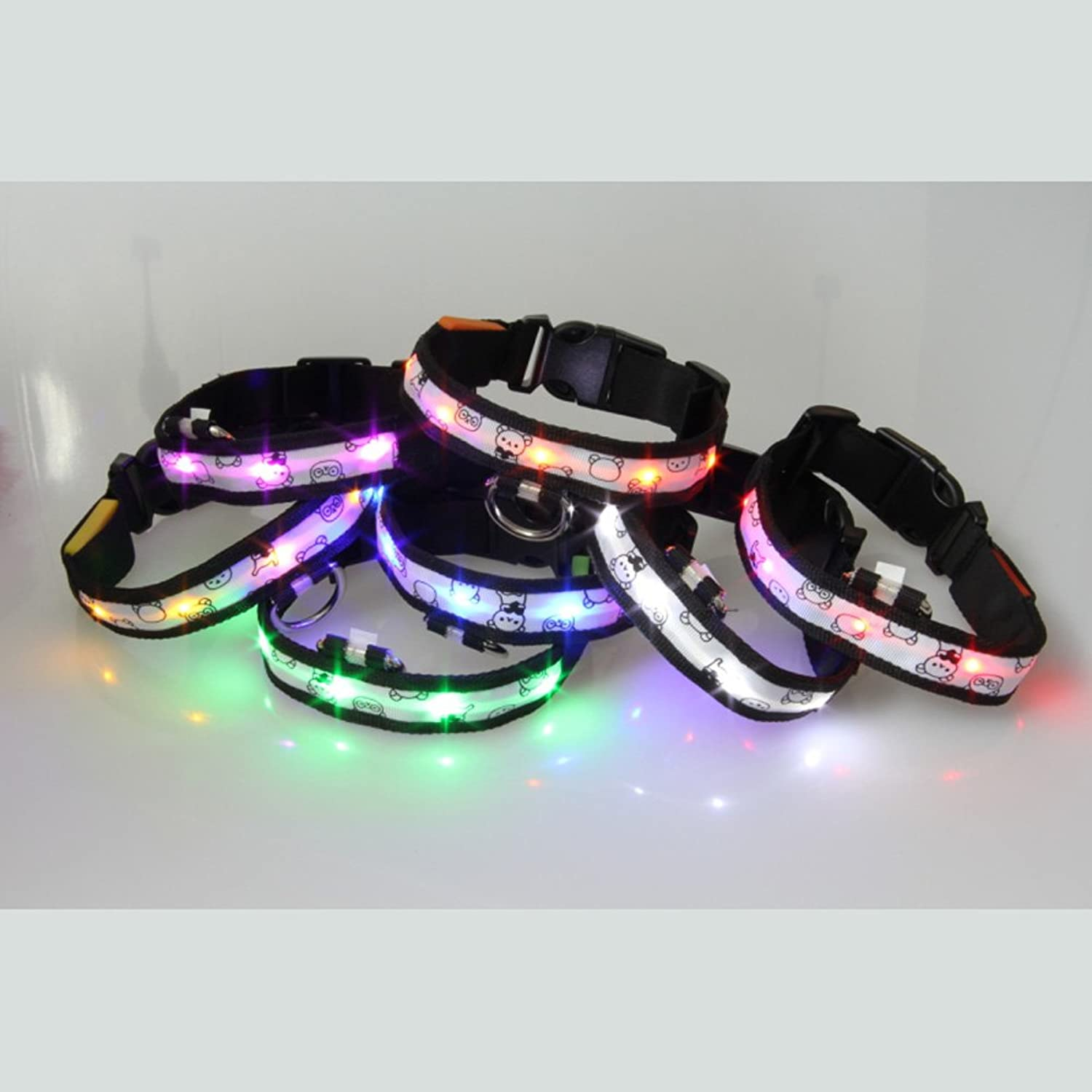7piece ACEVER LED Dog Collar with Printed Bear colorful Nylon LED Pet Collar (Size S)