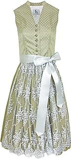 Bergweiss Trachten Hochgeschlossenes Damen Dirndl Adrianna - Grün Grau 65cm - Kleid Schürze - Trachtenkleid Größe 34 bis 44