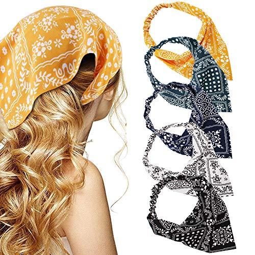 TOBATOBA Floral Elastic Hair Scarf Headband 5 Pcs Fashion Headbands Chiffon Head Kerchief Headband Bandanas for Women Boho Headbands Elastic Bandanas Head Wrap Triangle Hair Scarf Fashion Hair Accessories for Women Girls