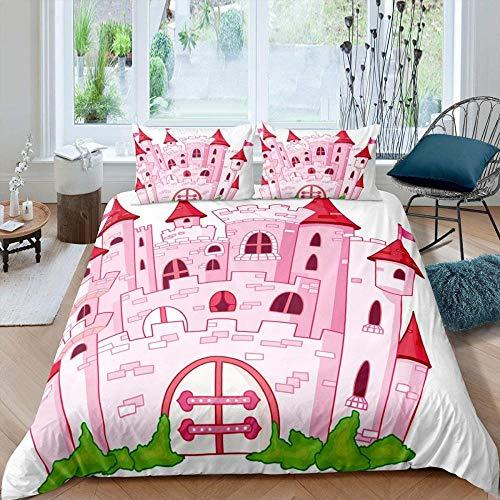 YANGMENGDAN DUVETWEI Duvet Cover Set Soft Microfiber Modern Bedding Quilt Cover with Zipper Closure 3 Pieces (1 Duvet Cover 135x200 cm /2 Pillow Cases 50x75 cm) Creative pink castle