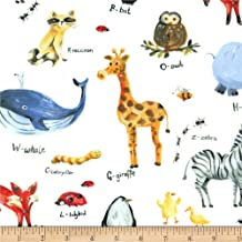 Michael Miller Minky Animal Alphabet Fabric by The Yard, White