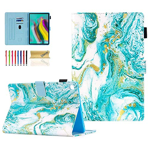 Dteck Galaxy Tab S5e 10.5' Case T720 T725, Slim Fit Premium PU Leather Multi Angle Stand Colorful Pattern Flip Stand Shockproof Girls Cover Case for Samsung Galaxy Tab S5e 10.5' 2019, Green Quiksand