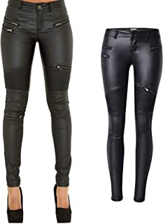 lexiart PU Leather Denim Pants for Women Sexy Tight Stretchy Rider Leggings Black Coffee