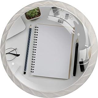 Poignées de Tiroir pour armoire,tiroir,coffre,commode,etc., Table de bureau blanche avec ordinateur portable