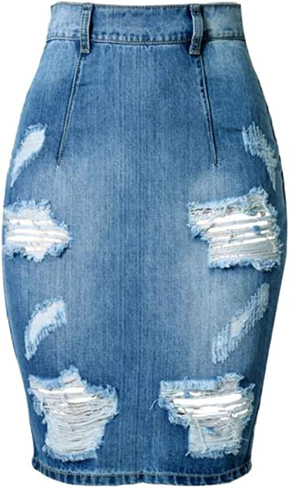 C&H Women's High Waisted Broken Hole Slim Denim Bodycon Skirts