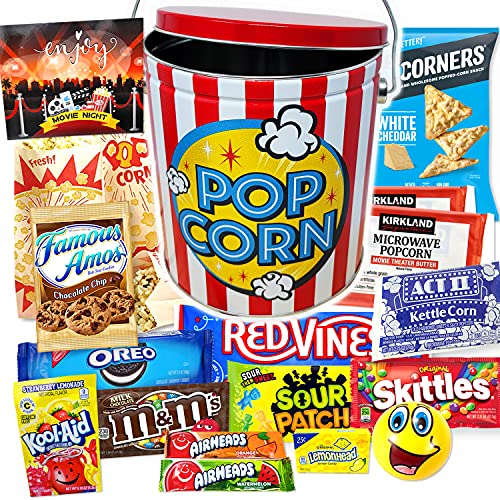 Ultimate Movie Night Gift Basket Snacks, Halloween Gift, Full Size candy variety POPCORN LOVER box for Kids, College Students Graduation gift, Family Gift or birthday Gift w/ Candy Tin Box