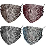 4 Pieces Rhinestone Mesh Face Cover Crystal Metal Glittery Masquerade for Women (Silver, Champagne, Red, Rainbow)