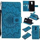 pinlu Folio Housse de Protection Étui en Cuir PU Stent Function Case Flip Cover pour Honor 6X avec Motif de Tournesol Coque (Bleu)
