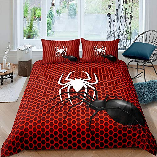 Honeycomb Duvet Cover Set, Geometry Diamond Comforter Cover Single Size for Kids Teens Adult, Abstract Hexagonal Insect Print Bedding Set Beehive Hexagon Red Quilt Cover With Zipper Ties