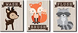 Big Dot of Happiness Woodland Creatures - Kids Bathroom Rules Wall Art - 7.5 x 10 inches - Set of 3 Signs - Wash, Brush, Flush