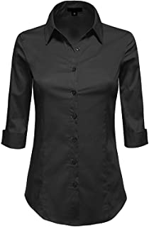 8d30d0deefefcc MAYSIX APPAREL 3/4 Sleeve Stretchy Button Down Collar Office Formal Casual Shirt  Blouse for