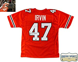 Michael Irvin Autographed/Signed Miami Orange Throwback Custom Jersey with