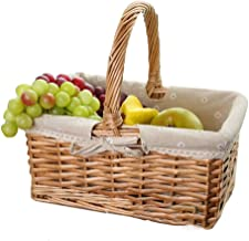 YAYADU Storage Basket Rattan Finishing Box High Capacity Hand Weave Cotton Lined Vegetables Fruits Books Clothes Table War...