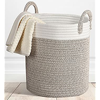 Storage Baskets Large Woven Basket, 15 x 13''x 13  Cotton Rope Decorative Baskets for Towel, Laundry, Magzine, Gift Basket