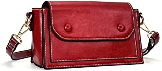 Fashion Women's Genuine Leather Small Square Bag Solid Color Soft Leather Retro Crossbody Shoulder Bag Cowhide Messenger Bag Cover Type & Zipper. (Color : Red)