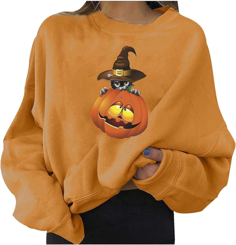 Jaqqra Halloween Sweatshirts for Women Casual Long sleeve Vintage Pumpkin Ghost Sweaters Lightweight Pullover Tops