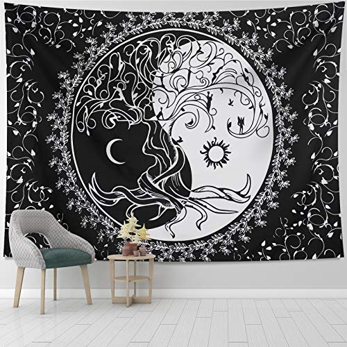 Sun and Moon Tree Tapestry Wall Hanging Black and White Tree of Life Hippie Tapestries Psychedelic Yin Yang Wall Tapestry for Bedroom Dorm 51.2ʺ × 59.1ʺ