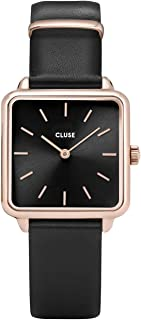 CLUSE LA TÉTRAGONE Rose Gold Black Black CL60007 Women's Watch 29mm Square Dial Leather Strap Minimalistic Design Casual Dress Japanese Quartz Elegant Timepiece