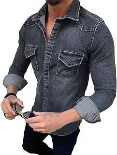 YYG Men's Pockets Button Down Classic Long Sleeve Slim Fit Denim Work Western Shirt